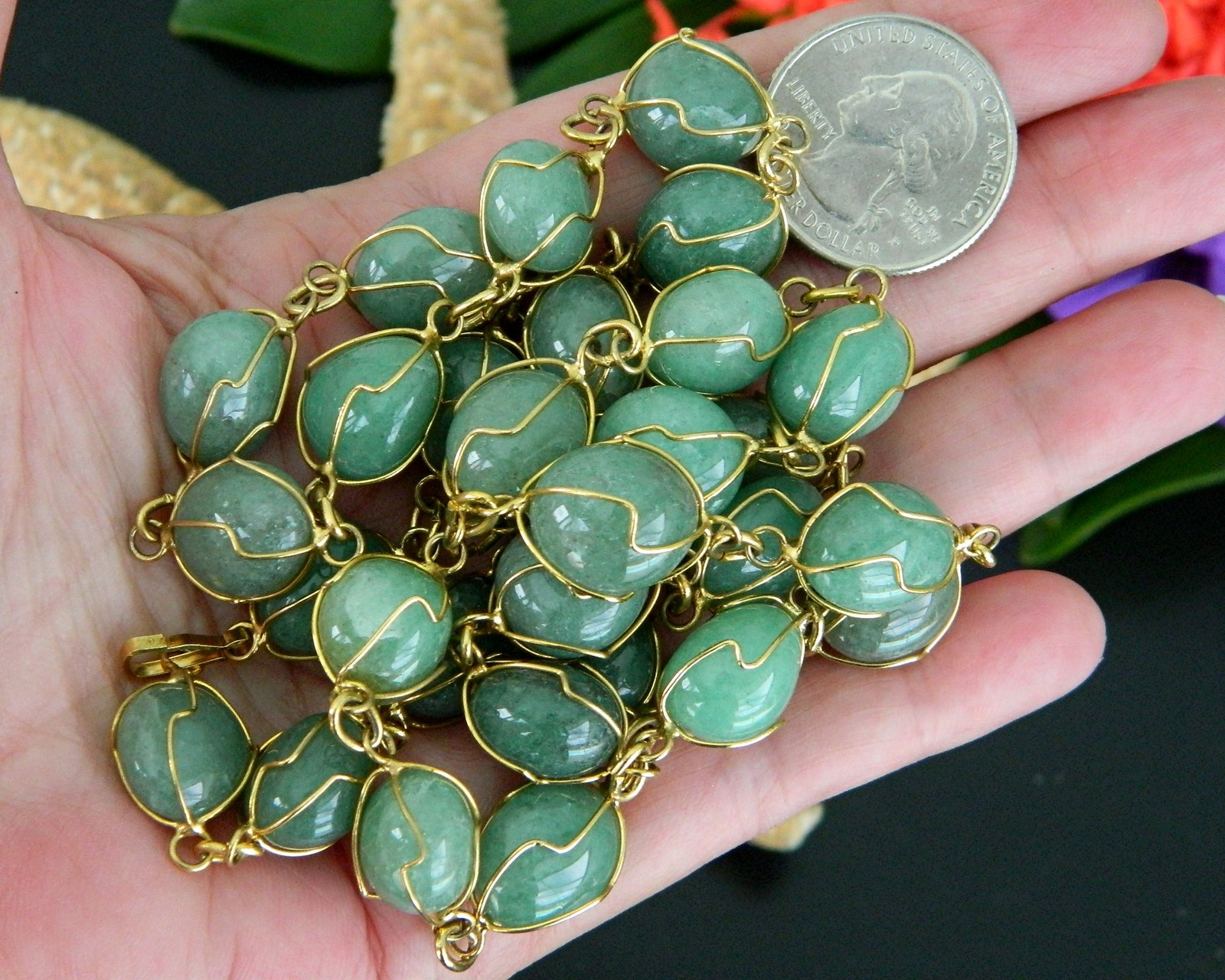 Vintage green gemstone necklace gold tone wire wrapped for What is gold polished jewelry