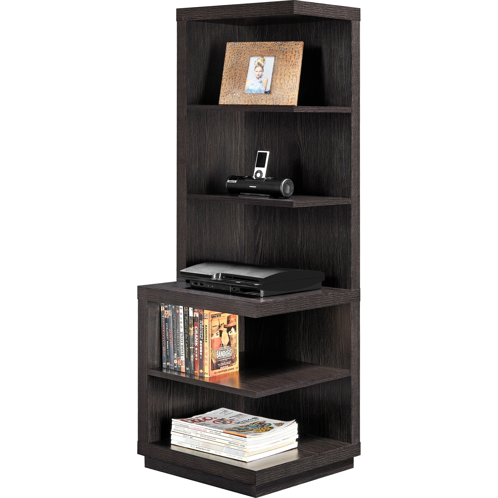 Corner shelf bookcase brown wood 5 shelves book storage for Display home furniture