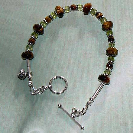 .925 Sterling Silver Tiger Eye and Peridot Bracelet Bonanza