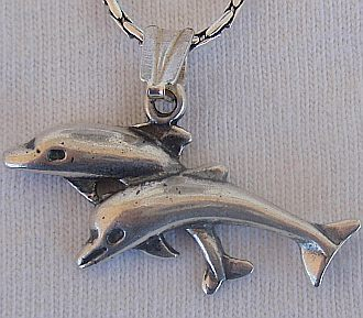 A pair of dolphins pendant