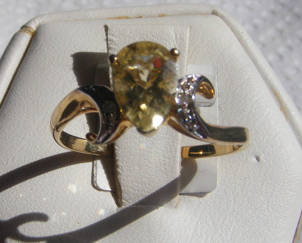 Beryl Yellow and Diamond Accent Ring 14kt YG size 6 Bonanza