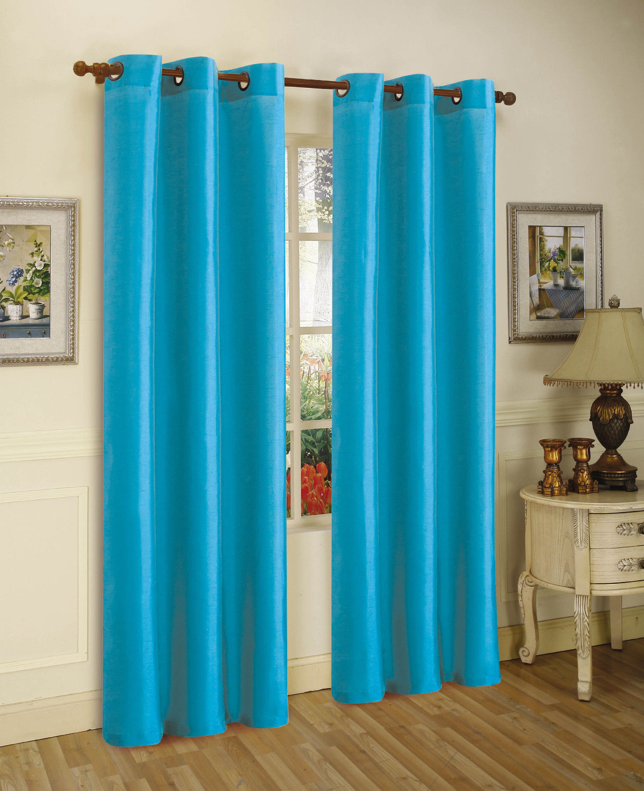 2 aqua blue panel room darkening 99 blackout grommet