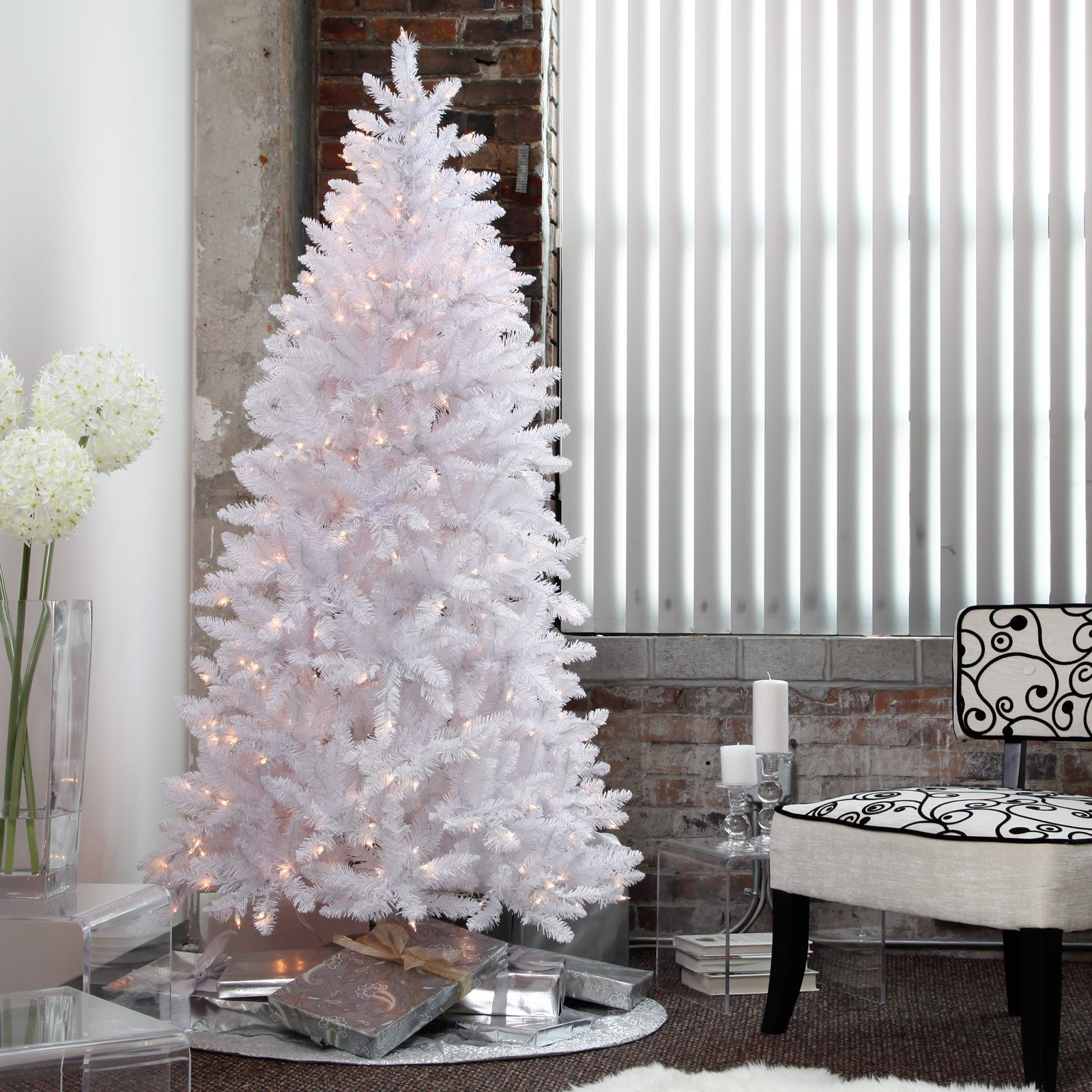 white christmas tree pre lit 7 5 ft artificial holiday clear lights stand new artificial. Black Bedroom Furniture Sets. Home Design Ideas