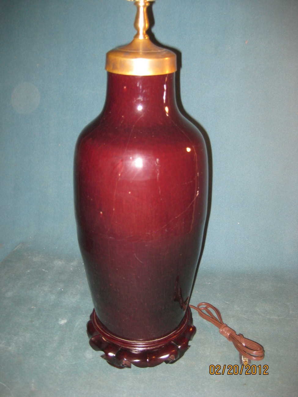 Rare Chinese OxBlood, Sang De Boeuf glaze vase made into a table lamp
