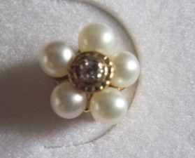 10K Pearl and Diamond Floral Cluster Gold Earrings New