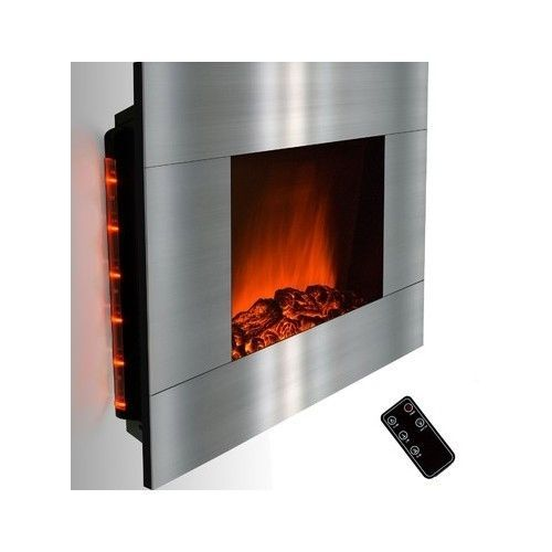 Wall Mount Stainless Steel Electric Fireplace Heater Decor 1500w Up To 400 Fireplaces