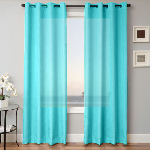 Silk window panel semi sheer curtain drape grommet nancy aqua blue 95