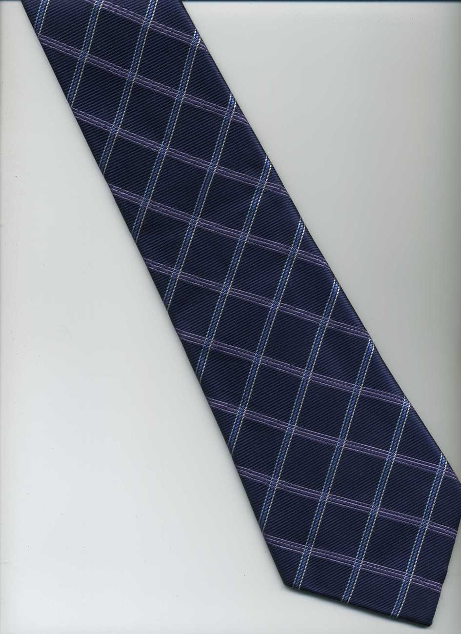 Handmade CHAPS, RALPH LAUREN Tie ~ Dark Blue, Purple, Blue ~ Check Pattern, Silk