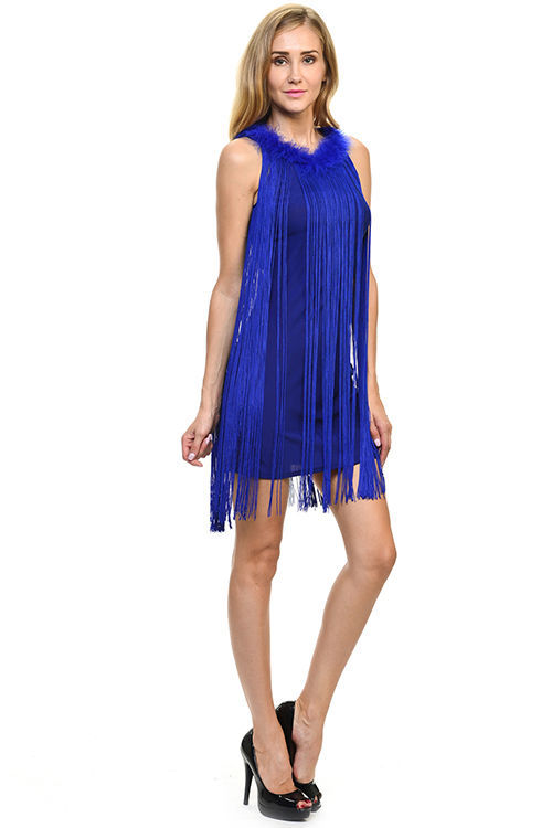 Image 5 of Sexy Jrs Fringe Royal Blue or Red Lined Party Mini Dress Faux Fur Collar S, M, L