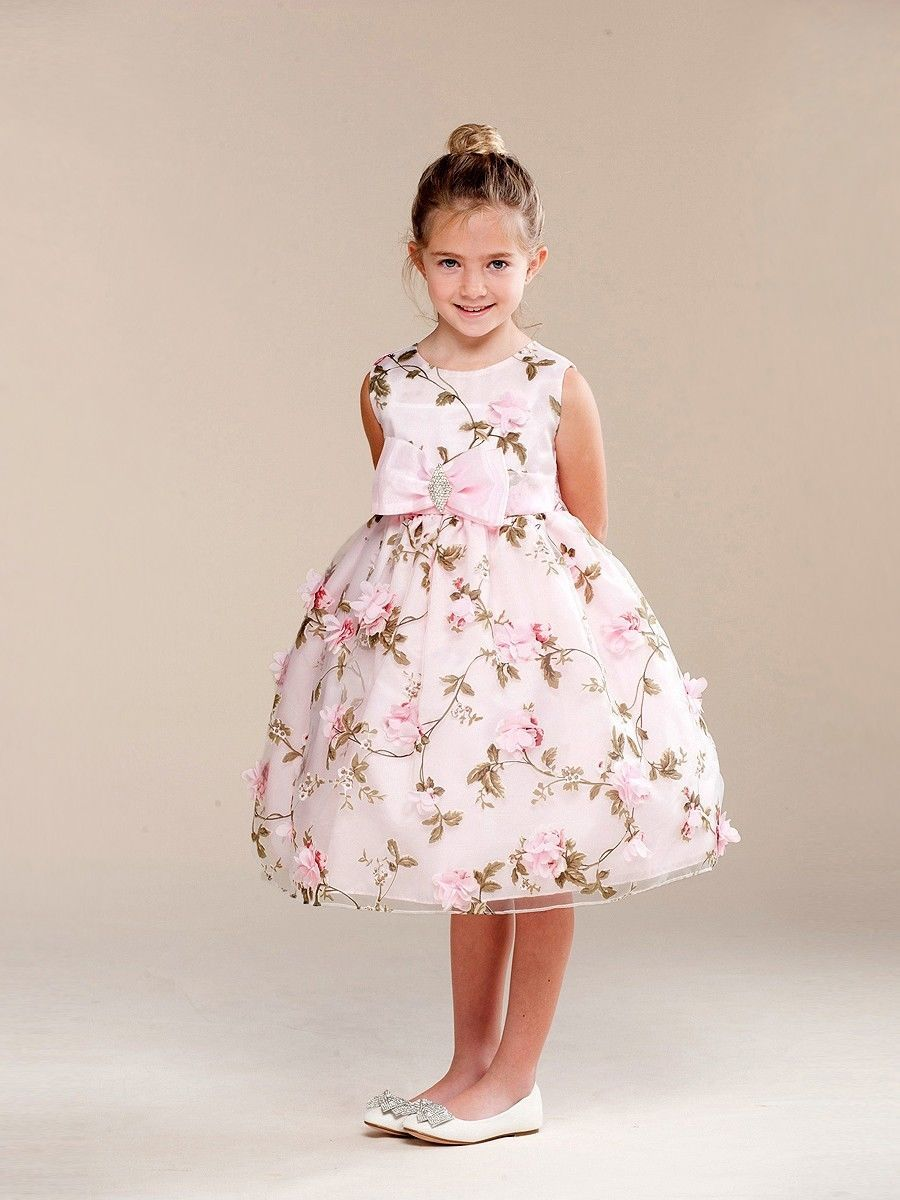 Image 2 of Posh Sweet Pink Floral Embroidered Flower Girl Party Dress, Crayon Kids USA - 4T
