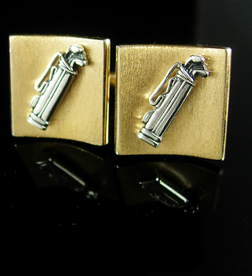 Vintage golf cufflinks bag clubs brushed finish retirement for Golf buflings