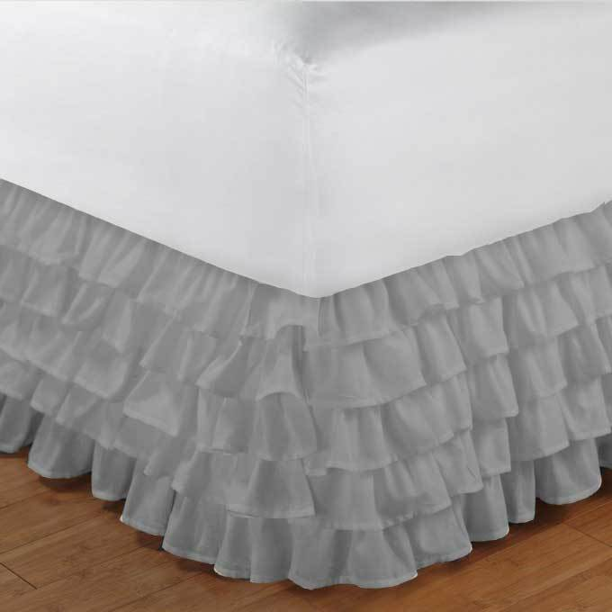 full size light grey chiffon multi layered ruffled bed skirt in any drop length bed skirts. Black Bedroom Furniture Sets. Home Design Ideas