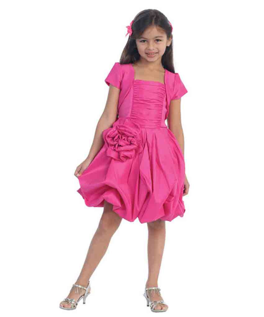 Stunning Girl's Fuchsia or Red Flower Girl Pageant Party Dress w/Bolero - Fuchsi