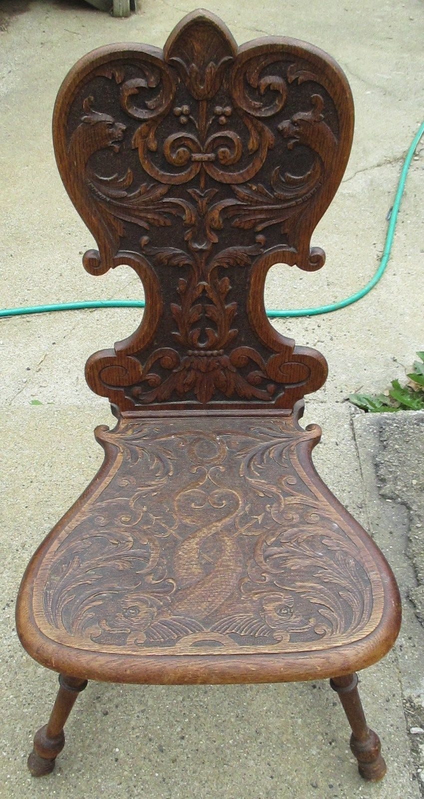 Antique Wooden Carved Chair ~ Antique hand carved wood chair unique very ornate unknown