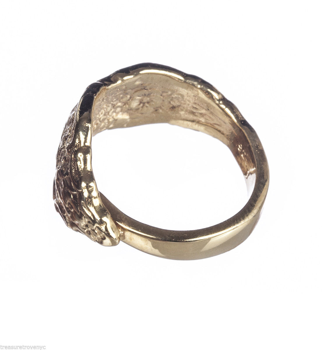 18 kt gold vermeil sterling silver ornate spoon ring