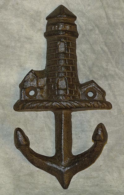 Lighthouse Anchor Wall Decor Hook Rustic Metal Nautical