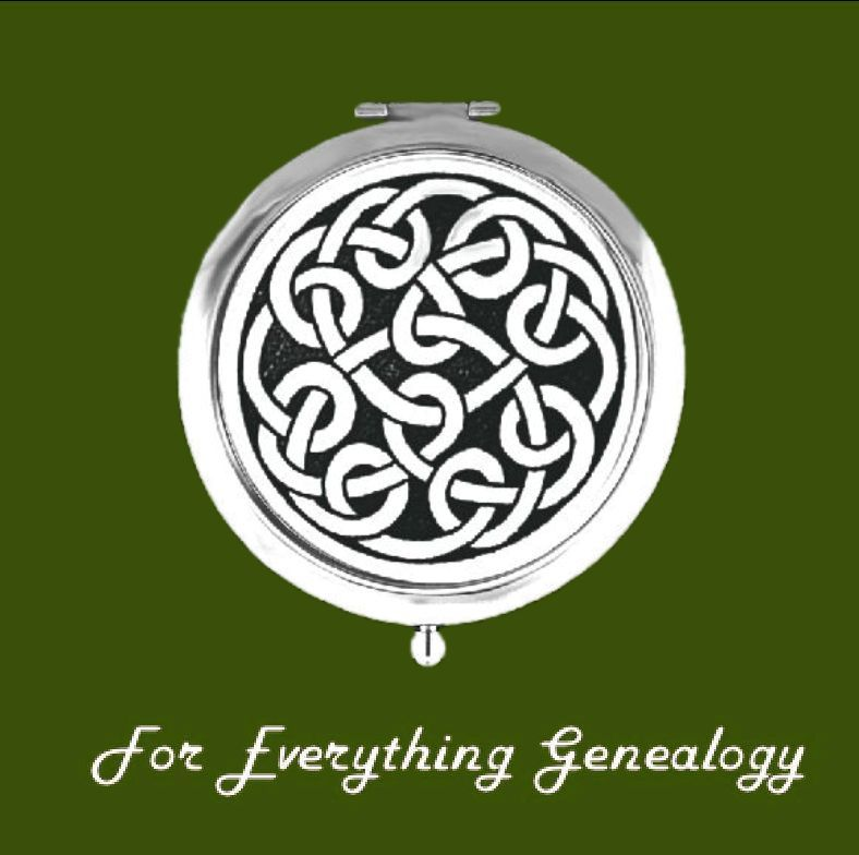 Celtic Round Knotwork Pewter Motif Chrome Plated Compact Mirror