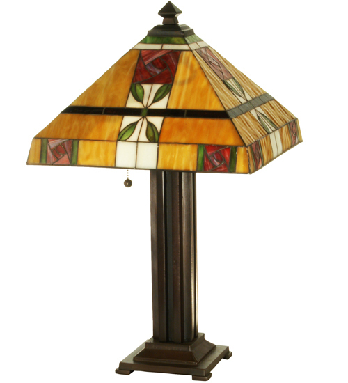 "Art Glass Tiffany Style Table Lamp 23.5""H"