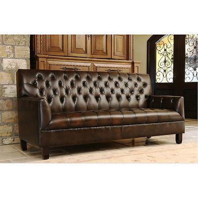 84 Sofa Art Deco Dark Brown Bonded Leather Tufted