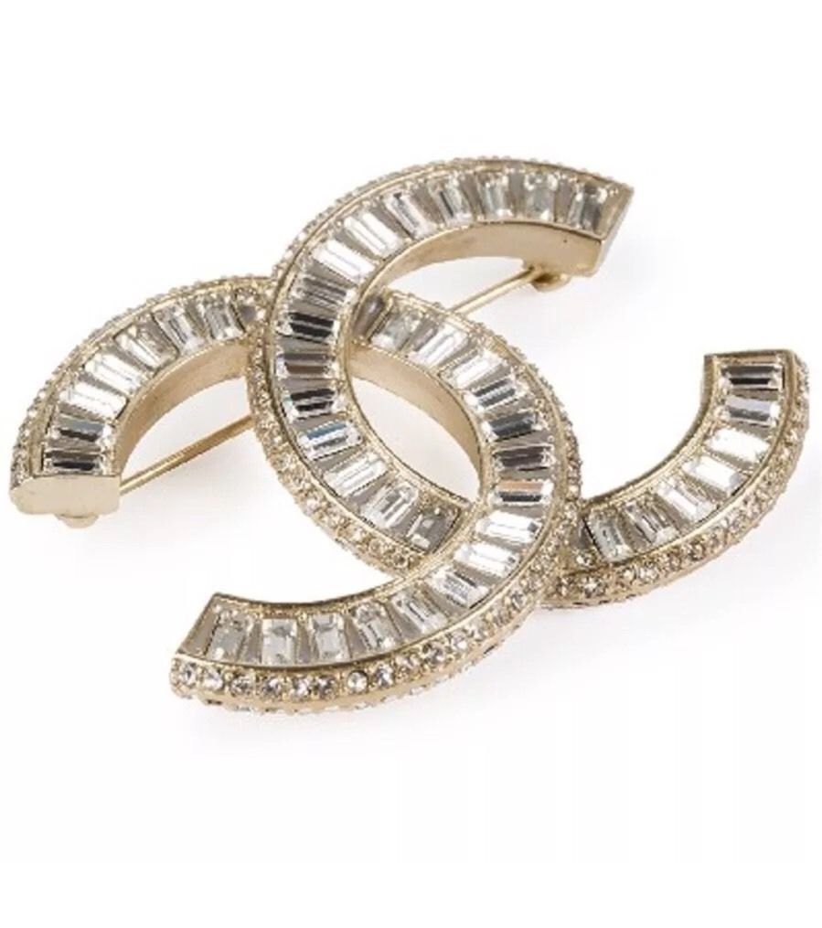 Authentic Chanel Crystal CC Gold Brooch Pin and 50 similar ...