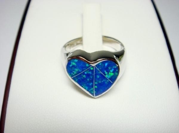 925 Sterling Silver Ring Hawaiian Blue Opal Heart Bonanza