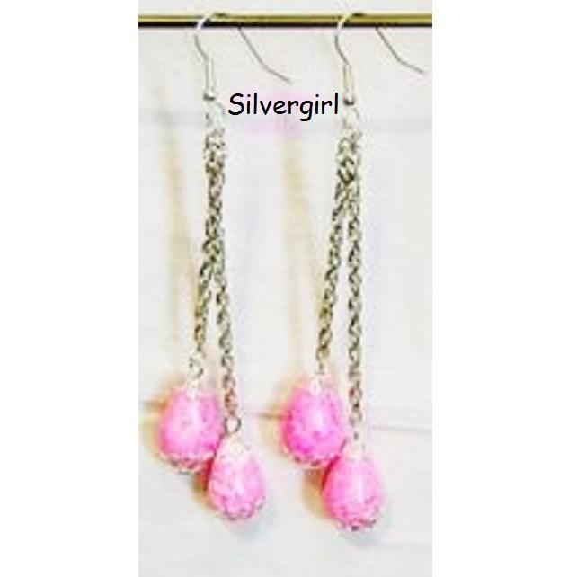 Long 2 Strand Pink Dyed Howlite Gemstone Chain Earrings