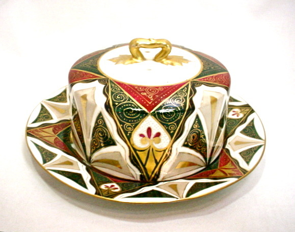 Alhambra Austria Lidded Dish Art Deco Butter Cheese Holder Gold Trim