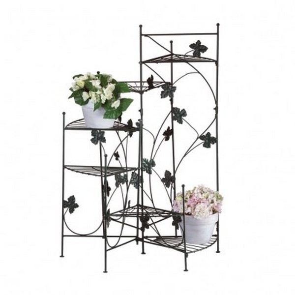 Plant Stand Indoor Staircase Style Ivy Leaf Accent Six