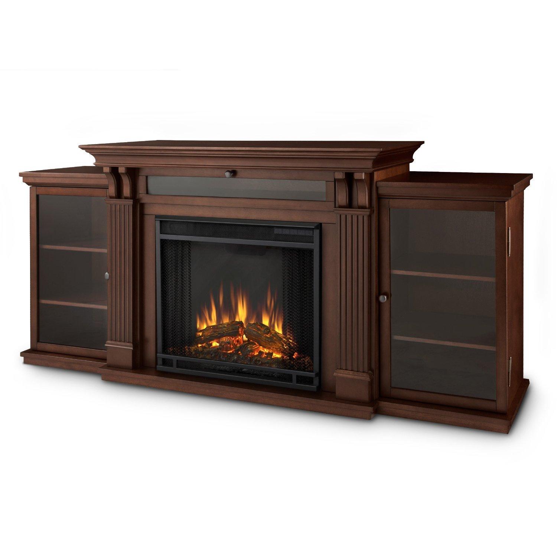 electric fireplace tv stand dark espresso firebox dual