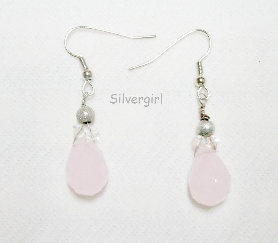 Tear Drop Rose Quartz Clear Crystal Earrings Love Stone