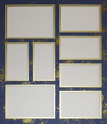 Pre Cut Double Collage Photo Mat 8 Openings Blue Gold Other
