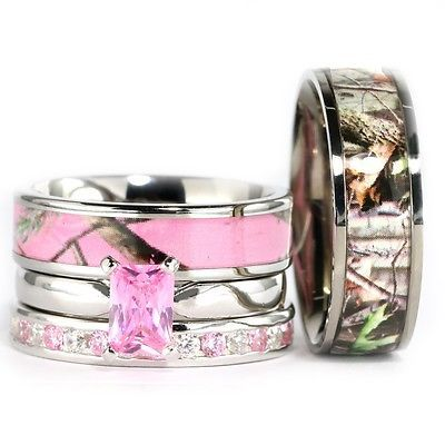 his hers camo pink radiant stainless steel sterling silver