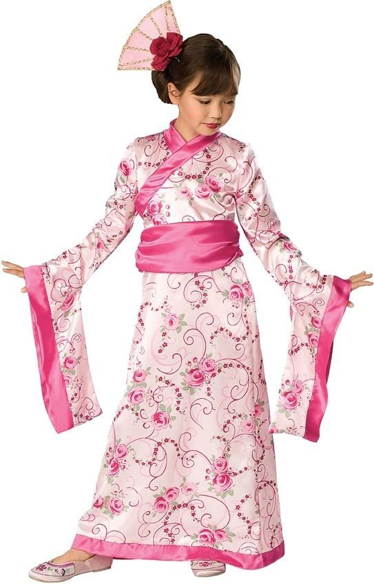 Elegant Pink or Green Polyester Asian Princess Girls Kimono Costume/Headpiece -