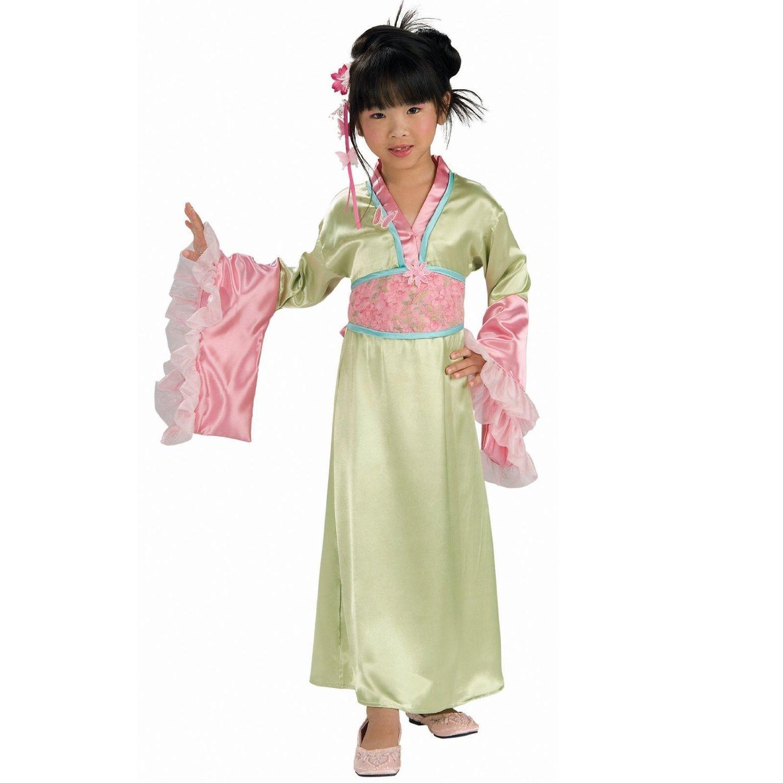 Image 2 of Elegant Pink or Green Polyester Asian Princess Girls Kimono Costume/Headpiece -