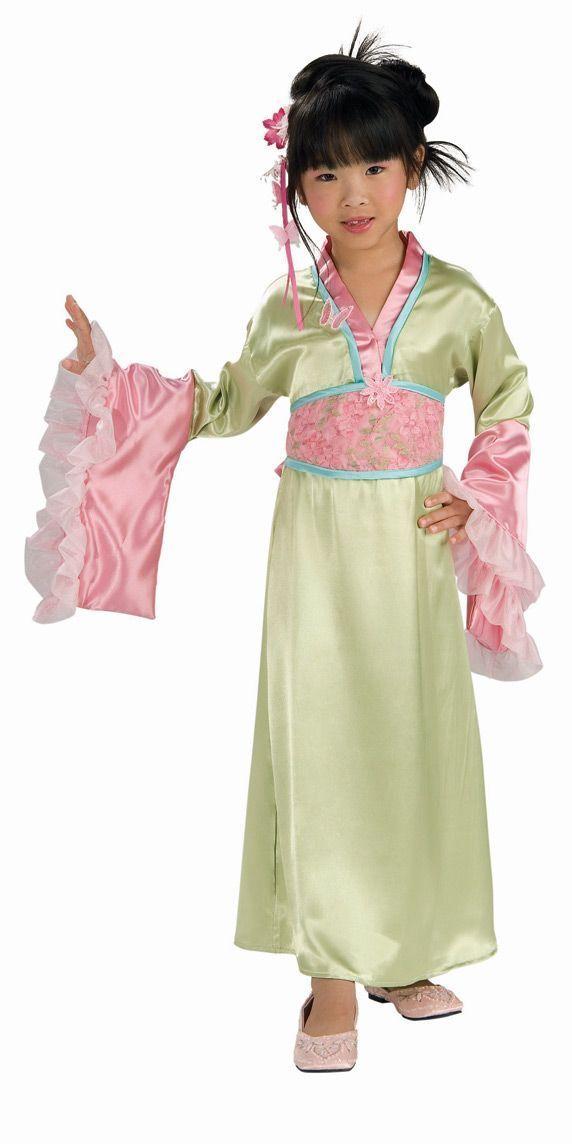 Image 4 of Elegant Pink or Green Polyester Asian Princess Girls Kimono Costume/Headpiece -