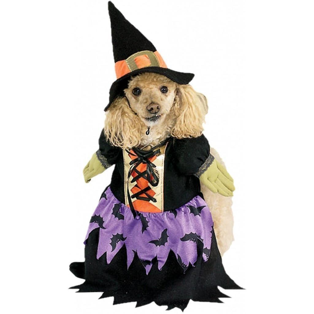 Image 2 of Fashionista Magical Bewitched Purple Witch Pet Dog Costume and Hat by Rubies - M