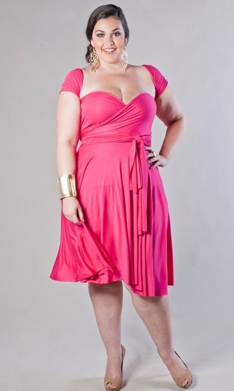 Image 0 of SWAK Designs Sexy Eternity Fuchsia Pink or Royal Blue Wrap Party Dress Plus Size