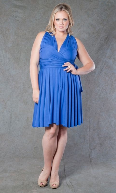 Image 2 of SWAK Designs Sexy Eternity Fuchsia Pink or Royal Blue Wrap Party Dress Plus Size