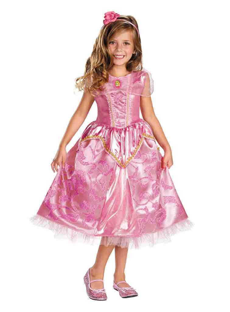 Deluxe Princess Aurora Pink Sparkle Girl Dress/Headpiece Costume Disney/Disguise