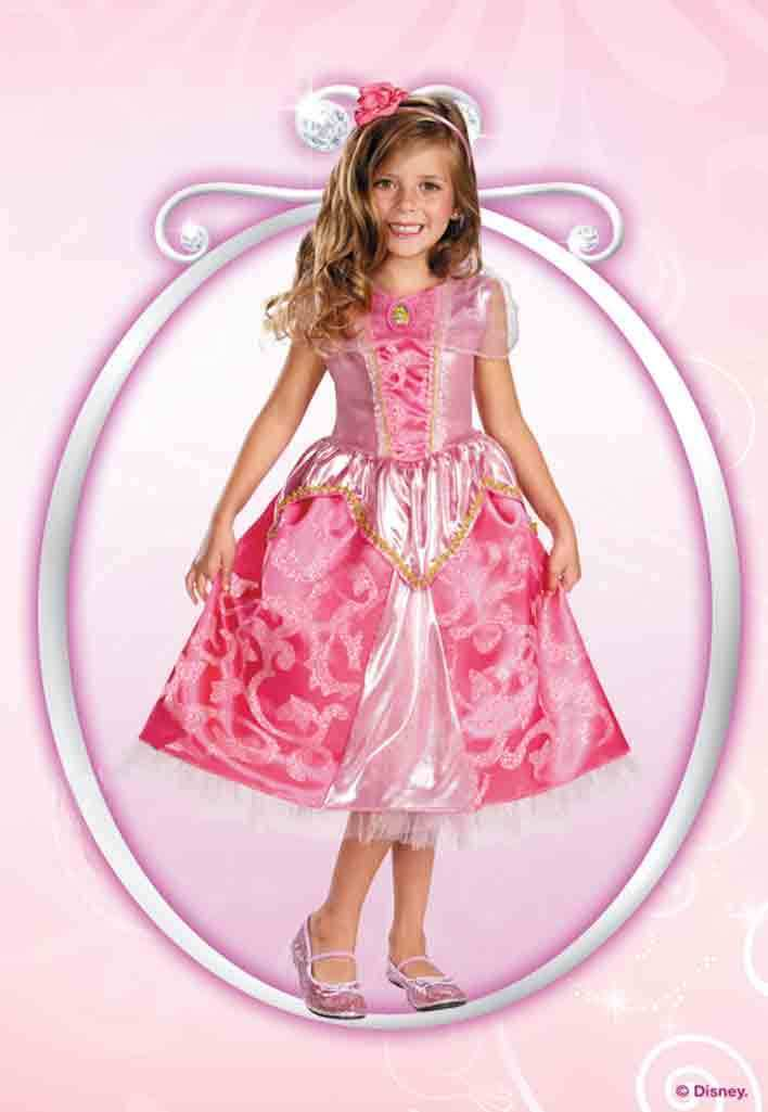 Image 1 of Deluxe Princess Aurora Pink Sparkle Girl Dress/Headpiece Costume Disney/Disguise