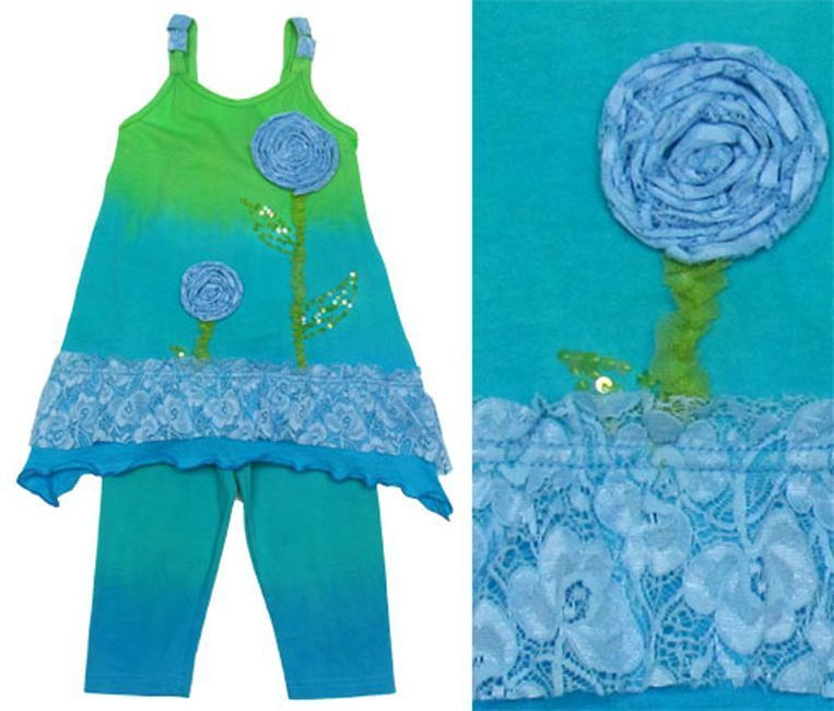 Image 1 of Posh Adorable New Moon Turquoise Girls Boutique Tunic Tank Top/Matcihng Leggings