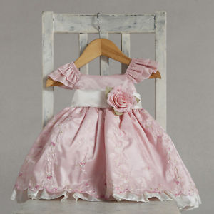 Stunning Pink Ivory Embroidered Flower Girl Party Dress, Crayon Kids USA - 12 Mo