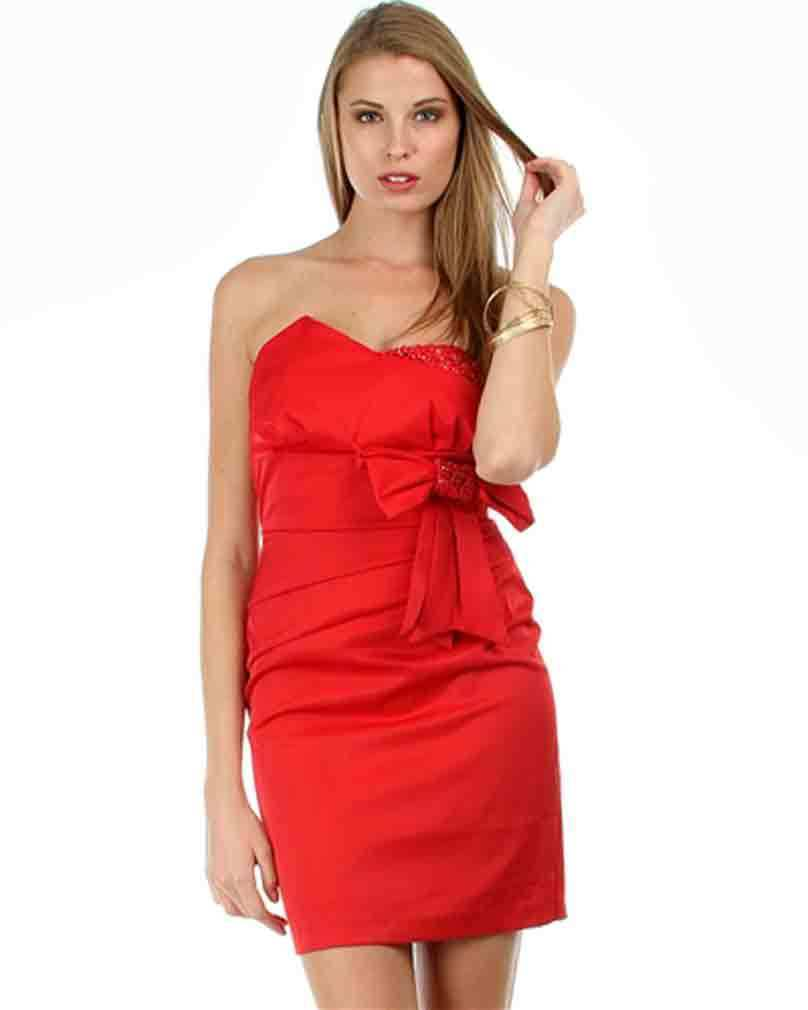 Image 0 of Sexy Red Satin Strapless Sheath Party Cruise Club Mini Jr Dress w/Bow - Red/Bric