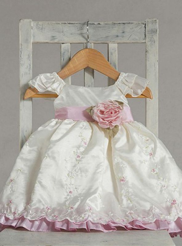 Stunning Ivory Pink Ruffle Embroidered Flower Girl Party Dress, Crayon Kids USA