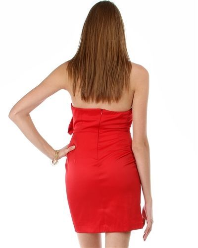 Image 2 of Sexy Red Satin Strapless Sheath Party Cruise Club Mini Jr Dress w/Bow - Red/Bric