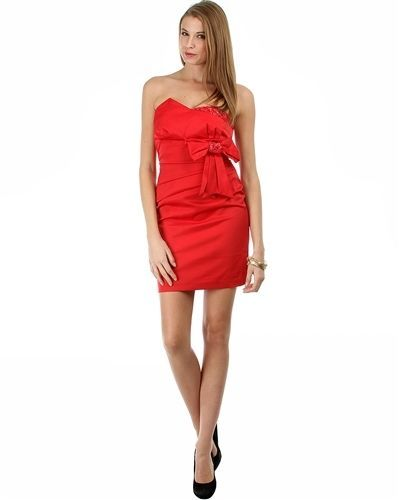 Image 3 of Sexy Red Satin Strapless Sheath Party Cruise Club Mini Jr Dress w/Bow - Red/Bric