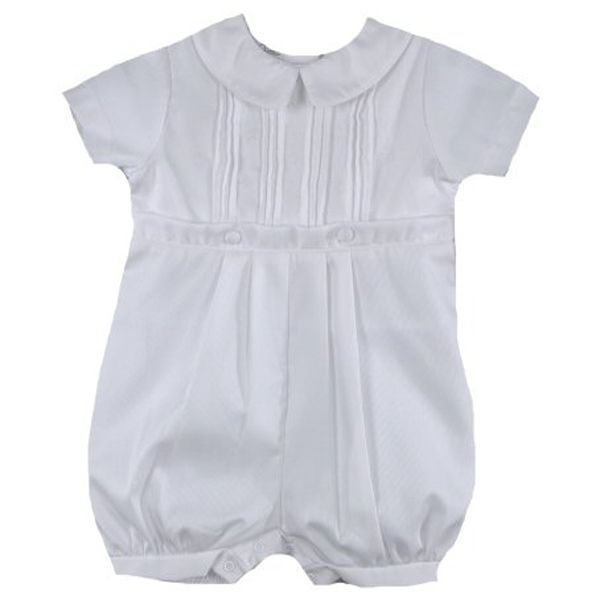 Image 1 of Precious Petit Ami White Baby Boys Knickers Christening Romper Set - 3 Months