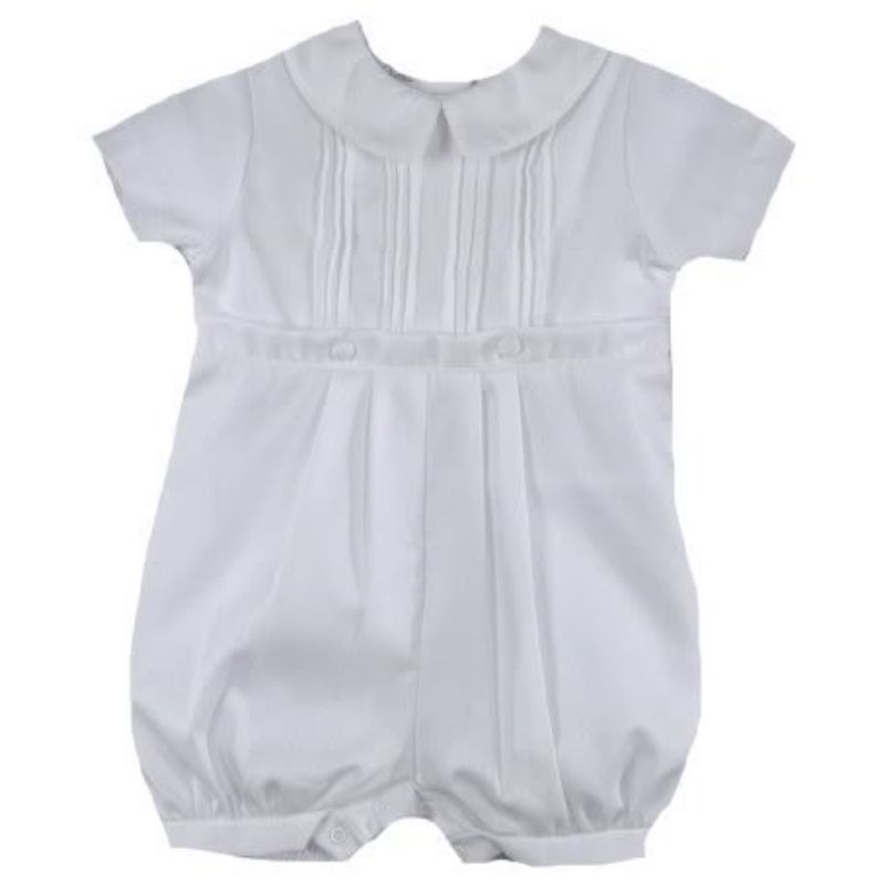 Image 2 of Precious Petit Ami White Baby Boys Knickers Christening Romper Set - 3 Months