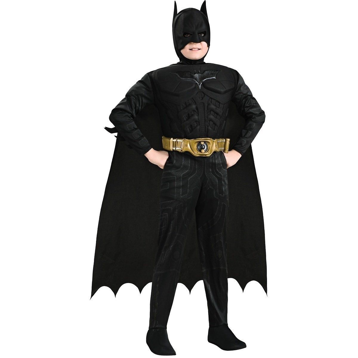 Child's Batman Black Dark Knight Deluxe Costume w/ Muscle Chest, Rubies, 881290