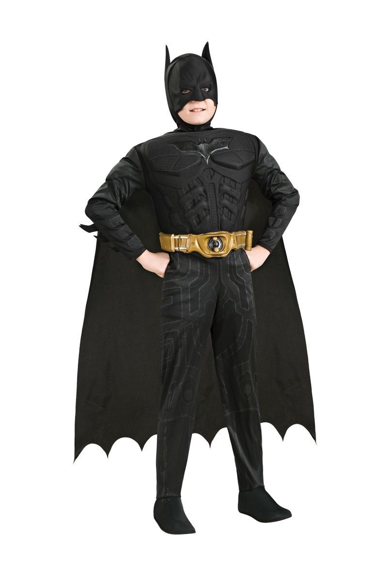 Image 1 of Child's Batman Black Dark Knight Deluxe Costume w/ Muscle Chest, Rubies, 881290